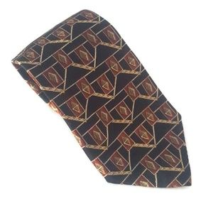 Cole Haan Silk Tie Black Red Gold Geometric